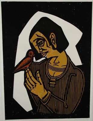 Frau mit Vogel  1983  45 x 60