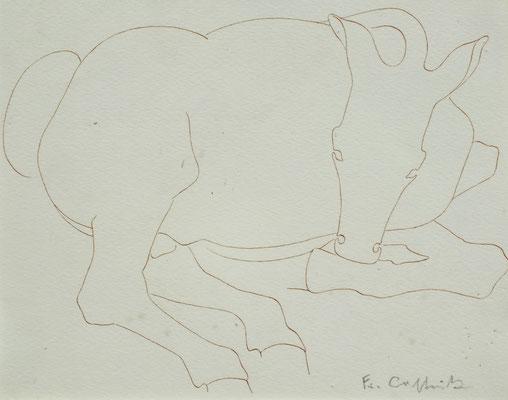 Tier Studie  1948  22,5 x 18 ( Sepia Tinte )