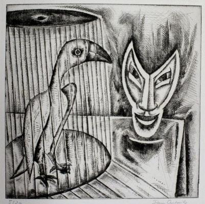 Vogel und Maske  1961  30 x 29,5