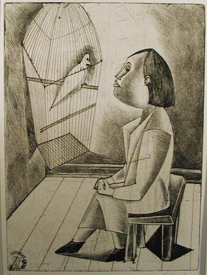 Frau vor Vogelkäfig  1957  23 x 32