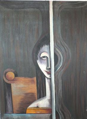 Mädchen am Fenster  1970    86 x 116