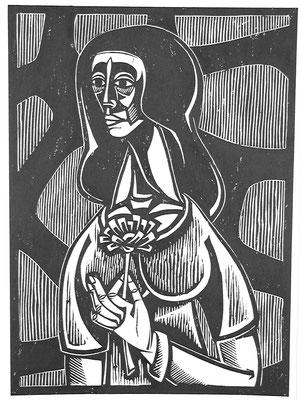 Frau mit Blume  1984  40 x 54                      Platte vorhanden