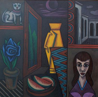 Stillleben mit Frauenbildnis  1991  106 x 105