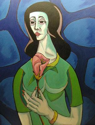 Frau mit Blume  2003  65 x 86