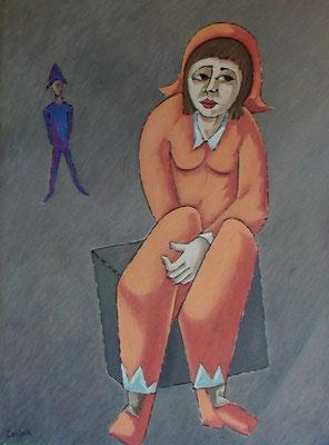 Sitzender Clown  2002  75 x 100