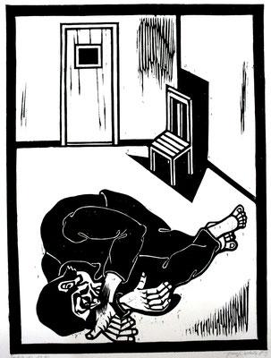 Liegender ( Gefängnis )  1986  45 x 60           Platte vorhanden