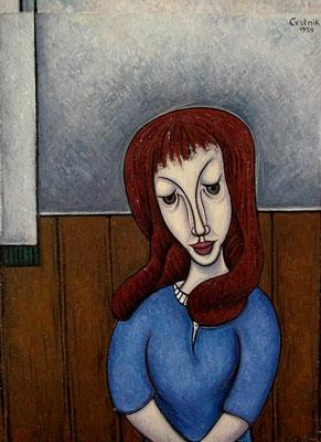 Junges Mädchen mit langem Haar  1959  71 x 97