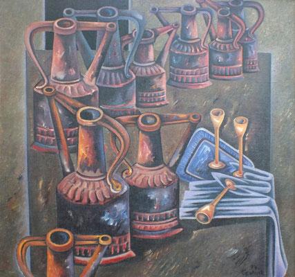 Stillleben mit Kupferkannen  1974  105 x 100