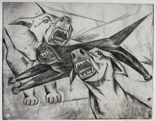 Zwei Hunde und Katze  1968  42 x 33         ( 1 )