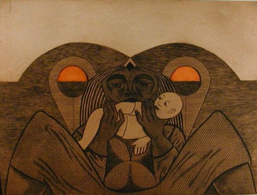 Mutter mit Kind  1977  39 x 29,5 ( Ätz )            ( 4 )
