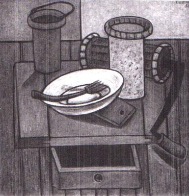 Stillleben mit Küchengeräten  1959