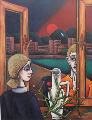 Gespräch am Fenster  1983  84 x 110