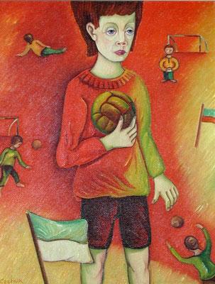 Junge mit Ball  1980  70 x 90