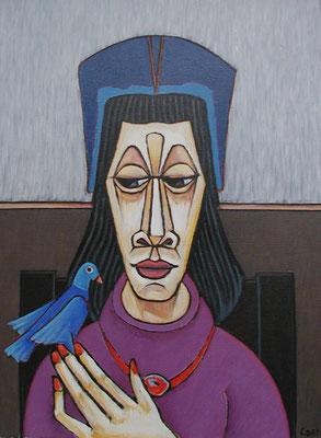 Frau mit Vogel  2001  66 x 87