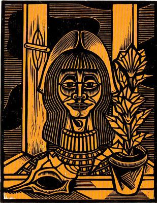 Frau am Fenster  1984    40 x 55