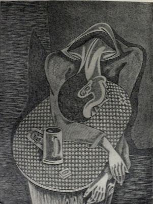 Trinker I  1976  30 x 39,5 ( Ätz )      ( 5 )