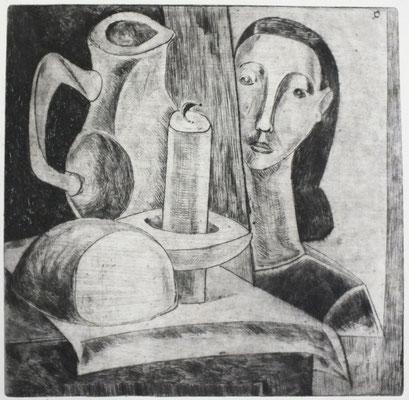 Stillleben mit Mädchenkopf  1955  23,5 x 23,5           ( 6 )