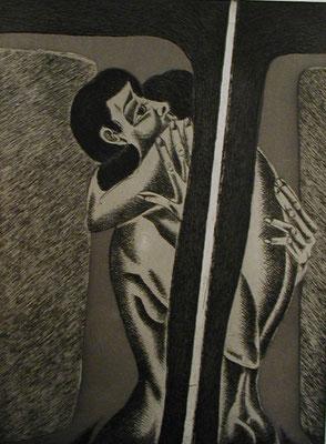 Paar am Fenster  1976  30 x 39,5 ( Ätz )