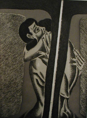 Paar am Fenster  1976  30 x 39,5 ( Ätz )          ( 1 )
