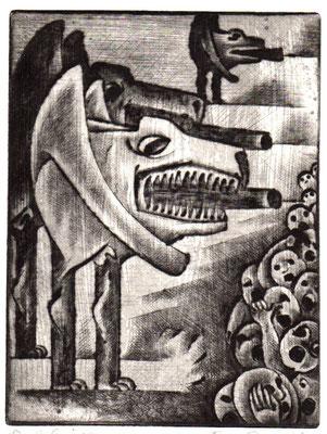 Bedrohung ( Der Krieg )  1968  15 x 19,5                ( 6 )
