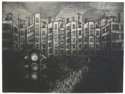 Nächtliche Stadt  1976  39 x 29,5