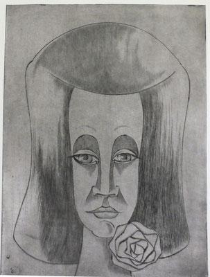 Frauenkopf mit Blume II  1981  29,5 x 39,5