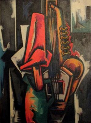 Musikinstrumente mit Hut  1975    88 x 120