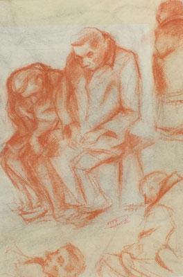 Bewohner aus dem Altersheim I  1947  29 x 41,5 ( Rötel )