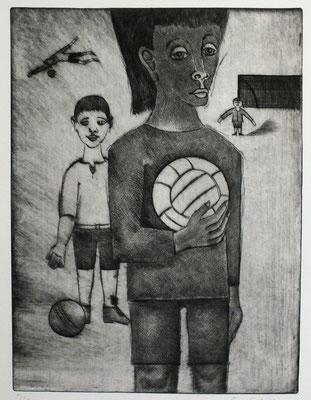 Kind mit Fußball  1976  30 x 40