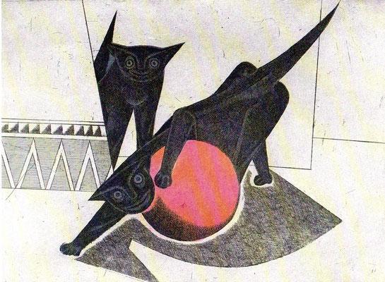 Spielende Katzen  1977  39,5 x 30 ( Ätz )