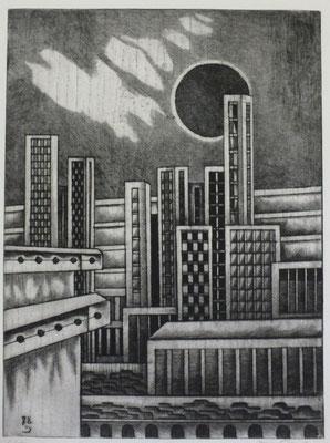 Stadt mit dunkler Sonne ( Tote Stadt )  1978  30 x 40