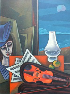 Stillleben mit Geige  1987  84 x 110