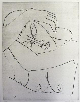 Schlafende ( Halbakt ) II  1990 37,5 x 48
