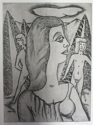 Frau und zwei Männer  1990  39,5 x 53