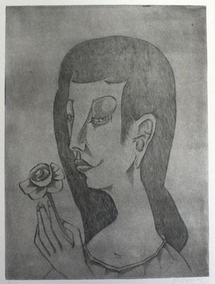 Mädchen mit Rose  1992  29,5 x 39,5