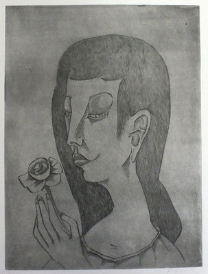 Mädchen mit Rose  1992  29,5 x 39,5       ( 1 )