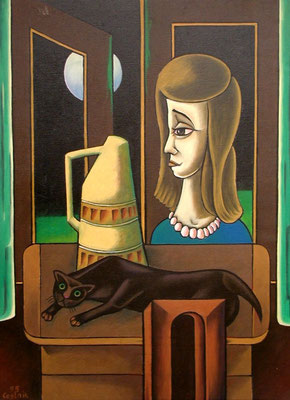 Mädchenkopf mit Katze  1995  80 x 110