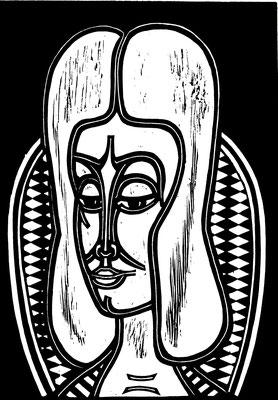 Frau vor Sessel  1984  39 x 55     Platte vorhanden