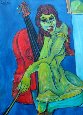 Cello Spielerin  2009  75 x 100