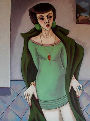 Frau im Mantel  2001  82 x 110