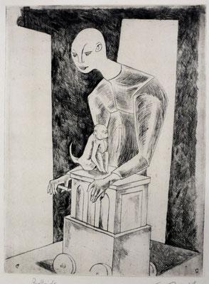 Leierkastenmann I  1955  23,5 x 31,6    Kahle Sammlung