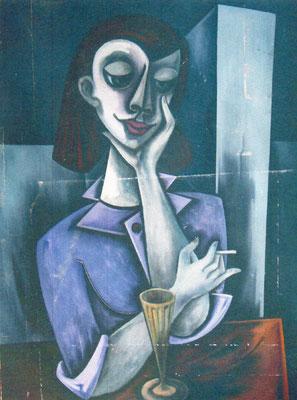 Junge Frau mit Zigarette im Cafe  1955    95 x 120