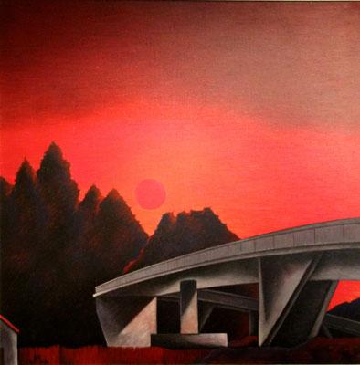 Abendlandschaft mit Brücke