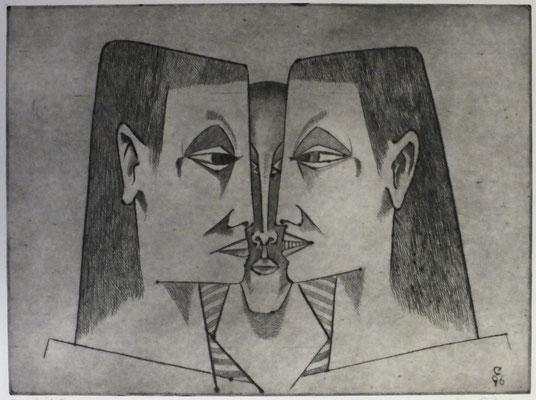 Drei Köpfe  1996  40 x 30