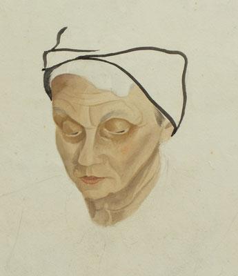 Frauenkopf  1948  35 x 51 ( Aquarell )