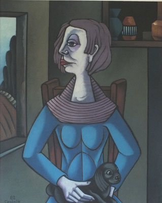 Frau mit Hund  1985    80 x 100