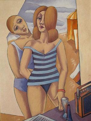 Junges Paar am Strand  1986  82 x 110