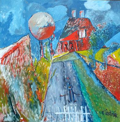 Landschaft 2010 mit Haus  2010  100 x 100