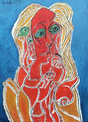 Mann zwischen zwei Frauen  2010  75 x 100