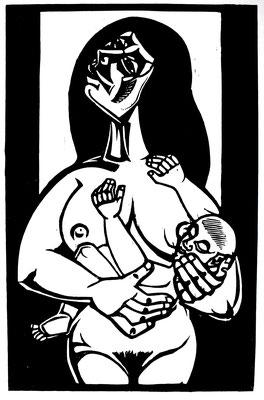Mutter mit Kind  1986  39 x 60            Platte vorhanden